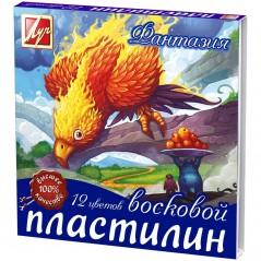 """Пластилин """"Фантазия"""" Луч 12 цветов, 210гр., восковой, со стеком, картон"""