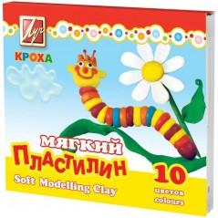 "Пластилин мягкий ""Кроха"" Луч 10 цветов, со стеком, картон"