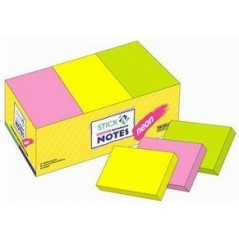 Бумага-стик для записи неон 3 цвета, с клеющим краем 38*51     12 шт.