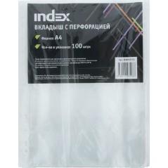 Папка-файл вкладыш с перфорацией Index, А-4, 35 мкр, 100 шт.